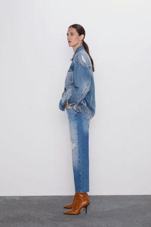 Zara Proste spodnie jeansowe o krótszym kroju z wysokim stanem i rozdarciami z kolekc