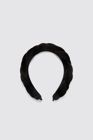 Zara Aksamitna opaska na włosy z ozdobną plecionką