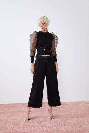 Zara Spodnie jeansowe typu culotte z wysokim stanem