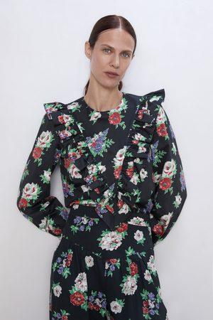 Zara Bluzka z nadrukiem w kwiaty i falbanką