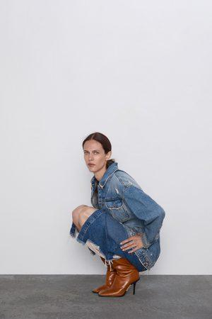 Zara Spódnica jeansowa średniej długości z rozdarciami