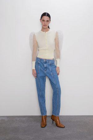 Zara Spodnie jeansowe w stylu mom fit z kieszeniami z kolekcji z1975