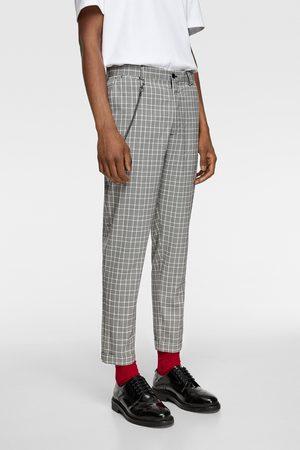 Zara Spodnie o kroju marchewkowym w kratę