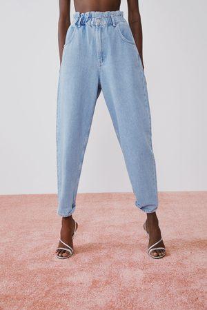 Zara Spodnie jeansowe typu paperbag