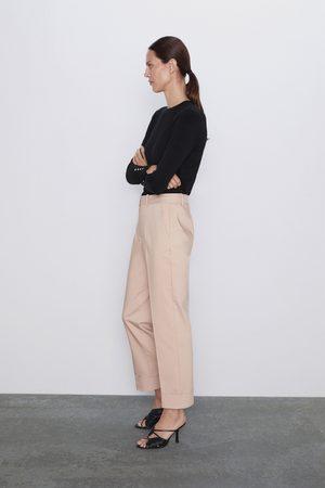 Zara Spodnie z podwijanymi mankietami nogawek