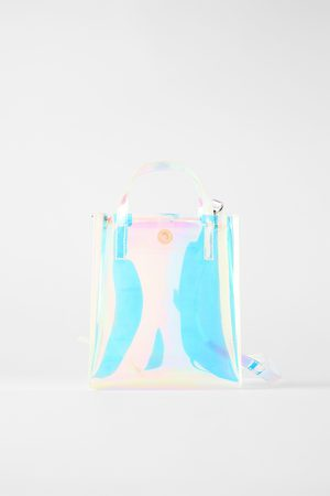 Zara Mini torebka typu shopper z opalizującym wykończeniem