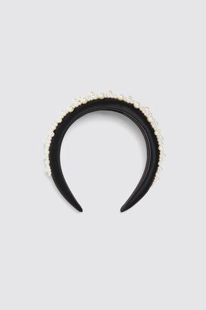 Zara Satynowana opaska na włosy ze sztucznymi perłami