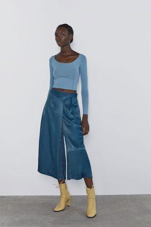 Zara Szerokie spodnie z tkaniny satynowanej