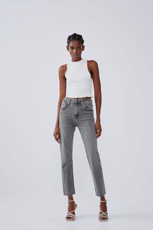 Zara Spodnie jeansowe z wysokim stanem