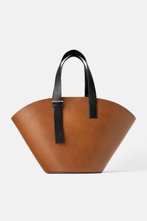 Zara Kobieta Torby shopper - Skórzana torba typu koszyk xxl