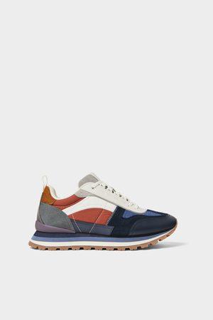 Zara Buty sportowe w stylu retro z łączonych materiałów