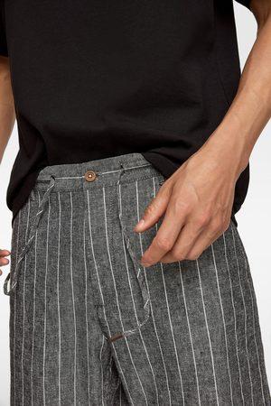 Zara Spodenki z tkaniny rustykalnej w paski
