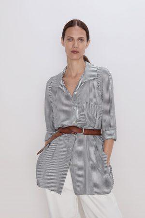 Zara Koszula w paski z kieszenią