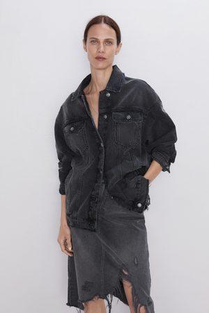 Zara Spódnica jeansowa z rozdarciami