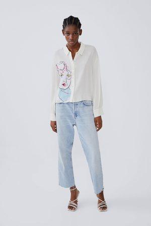 Zara Koszula z nadrukiem i rękawem o szerokim kroju