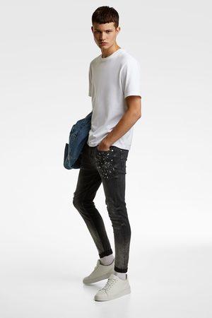 Zara Spodnie jeansowe rurki z efektem sprania