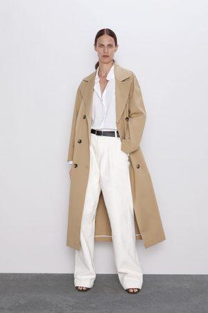 Zara Spodnie jeansowe zw premium worker palazzo white