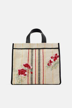 Zara Tekstylna torba typu shopper z haftem