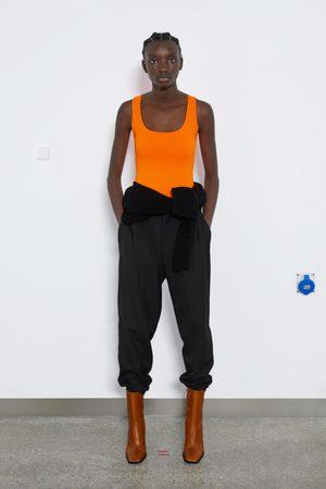 Zara Koszulka z tkaniny elastycznej na szerokich ramiączkach