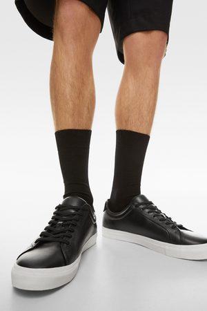 Zara Czarne skórzane buty sportowe