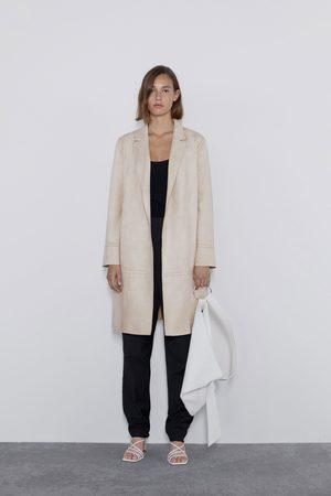 Zara Kobieta Płaszcze - Płaszcz ze sztucznego zamszu