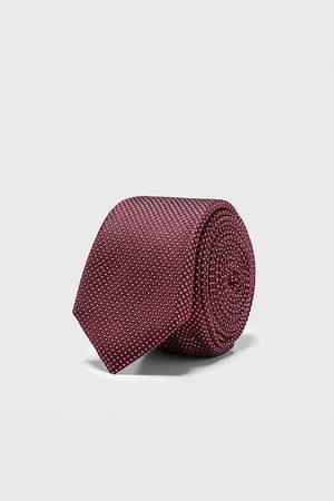 Zara Wąski żakardowy krawat w geometryczny deseń