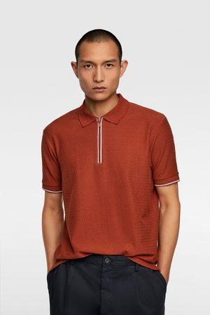Zara Koszulka polo z tkaniny strukturalnej