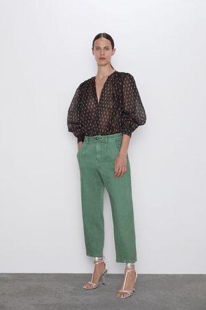 Zara Kobieta Spodnie - Spodnie z efektem sprania i zaszewkami