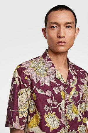 Zara Popelinowa koszula z kwiaty