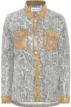 Stand Studio Mazal snake-effect leather shirt