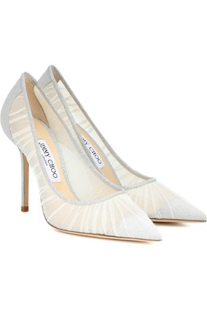 Jimmy Choo Love 100 Glitter-tulle Pumps Srebrny