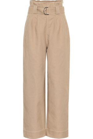 Ganni High-rise cotton-blend pants