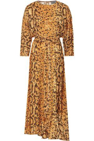 THORNTON BREGAZZI Claudia snake-print midi dress