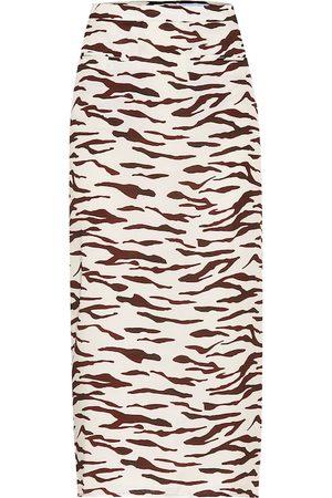 REJINA PYO Kobieta Spódnice z nadrukiem - Mina printed satin-twill midi skirt