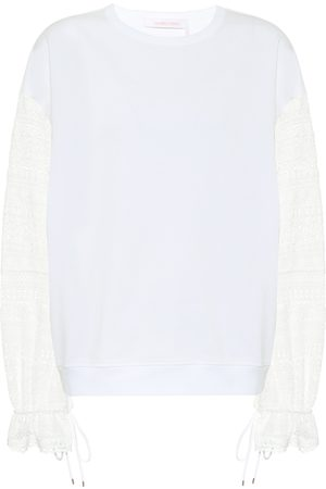 See by Chloé Lace-trimmed cotton top