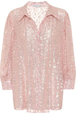 Stella McCartney Silk-blend leopard-fil coupé blouse