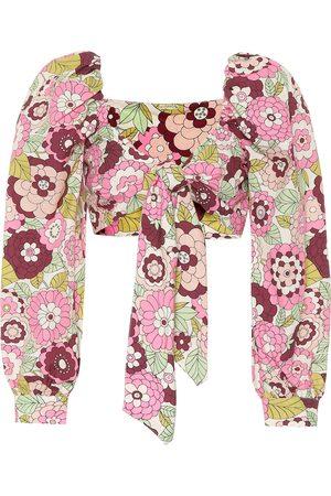 DODO BAR OR Floral cotton crop top