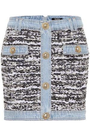 Balmain Tweed and denim miniskirt
