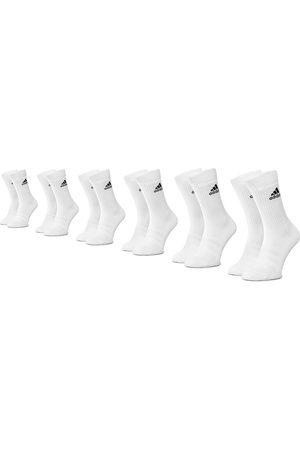 adidas Skarpety - Zestaw 6 par wysokich skarpet unisex - Cush Crw 6Pp DZ9353 White/White/White/Wz