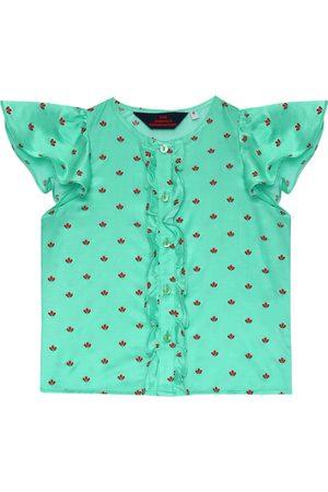The Animals Observatory Dziewczynka Bluzki - Parakeet printed silk-blend blouse