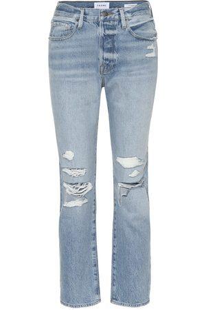 Frame Kobieta Rurki i Slim Fit - High-rise distressed slim jeans