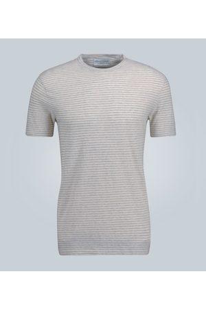 Officine Générale Kobieta Z krótkim rękawem - Striped cotton T-shirt