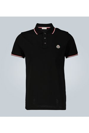 Moncler Koszulki polo - Contrast trimmed cotton polo shirt