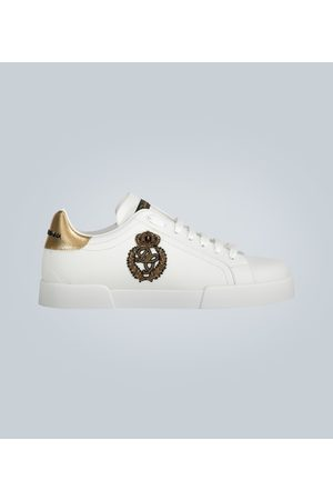 Dolce & Gabbana Kobieta Sneakersy - Low-top leather sneakers with logo