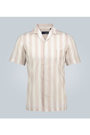 LARDINI Striped camp-collar shirt