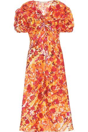 Marni Kobieta Sukienki z nadrukiem - Floral silk dress