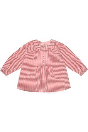 Caramel Victoria striped cotton-blend blouse
