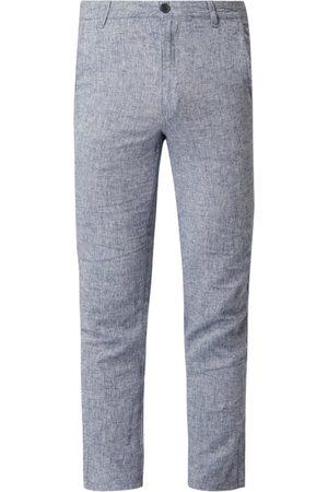 Selected Chinosy o kroju straight fit z mieszanki lnu i bawełny model 'Paris'