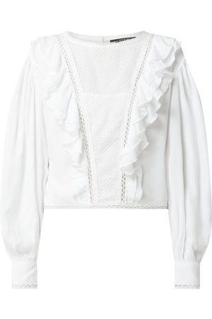 Guess Kobieta Bluzki - Bluzka krótka ze wstawką z ażurowej koronki