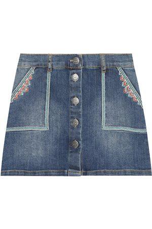 BONPOINT Dziewczynka Spódnice jeansowe - Exie embroidered denim skirt
